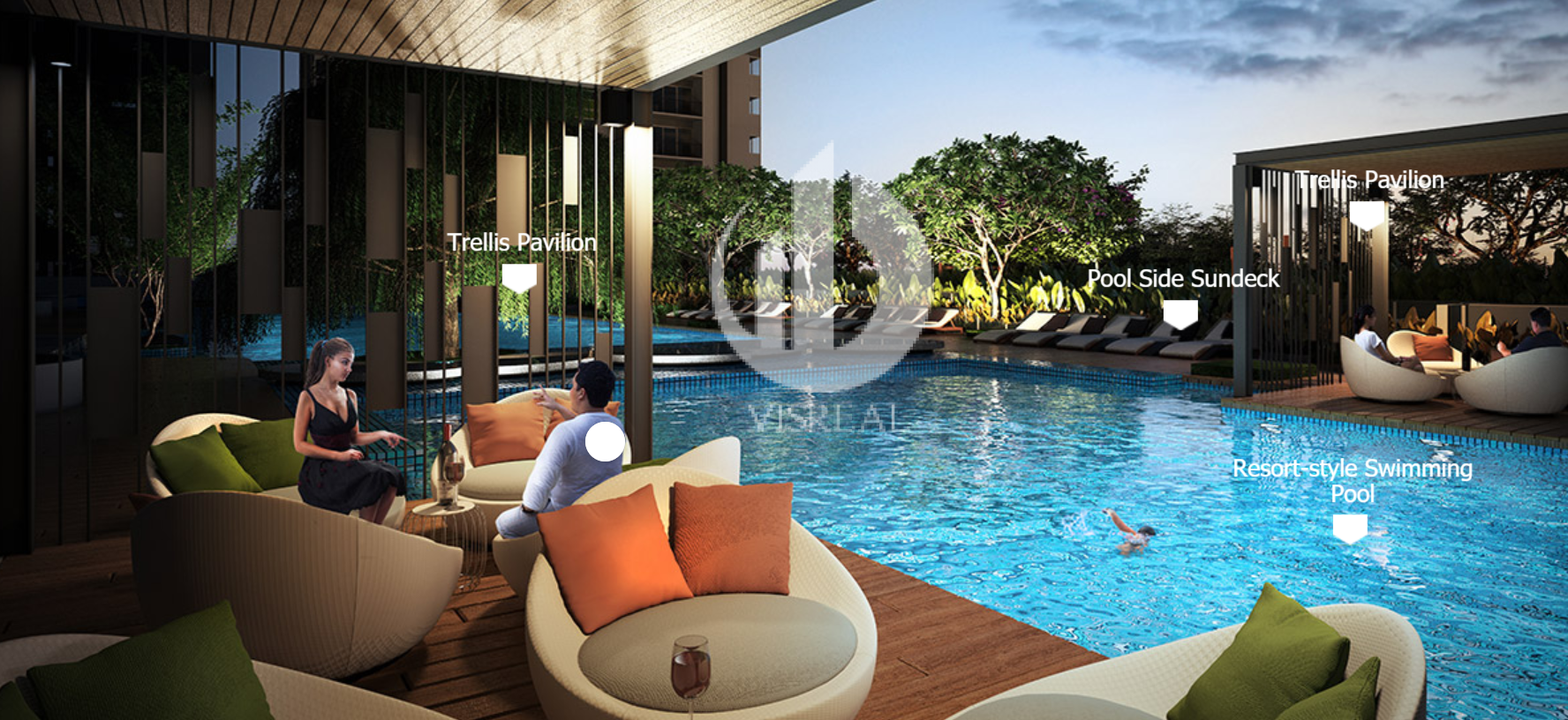 Enjoy an intimate night by the poolside with your loved one at Trellis Pavillion in Vista Verde Apartment