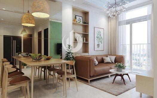 Vinhomes Central Park Apartment – Beautiful interior design with light, light colors.