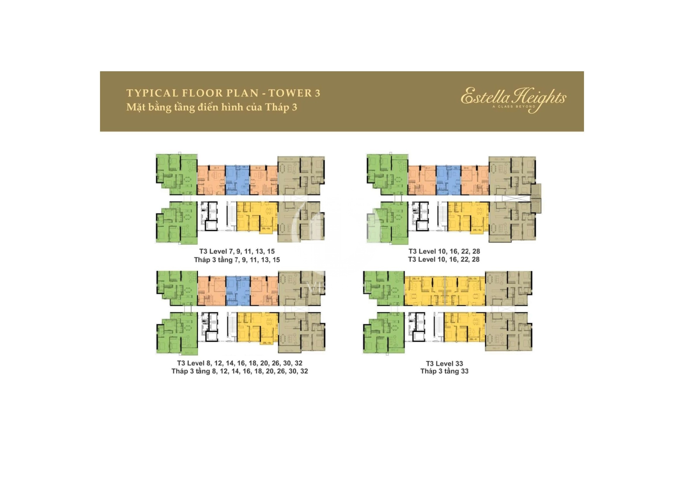 Layout of Tower 3 in Estella Heights apartment