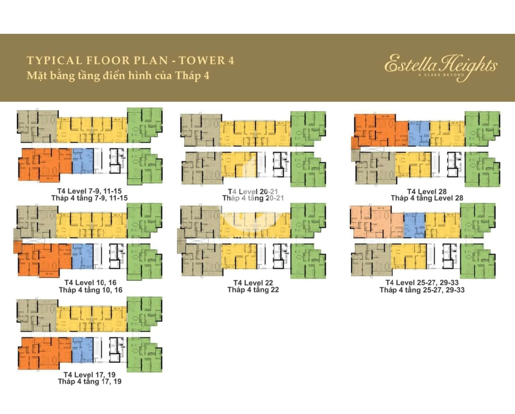 Layout of Tower 4 in Estella Heights apartment