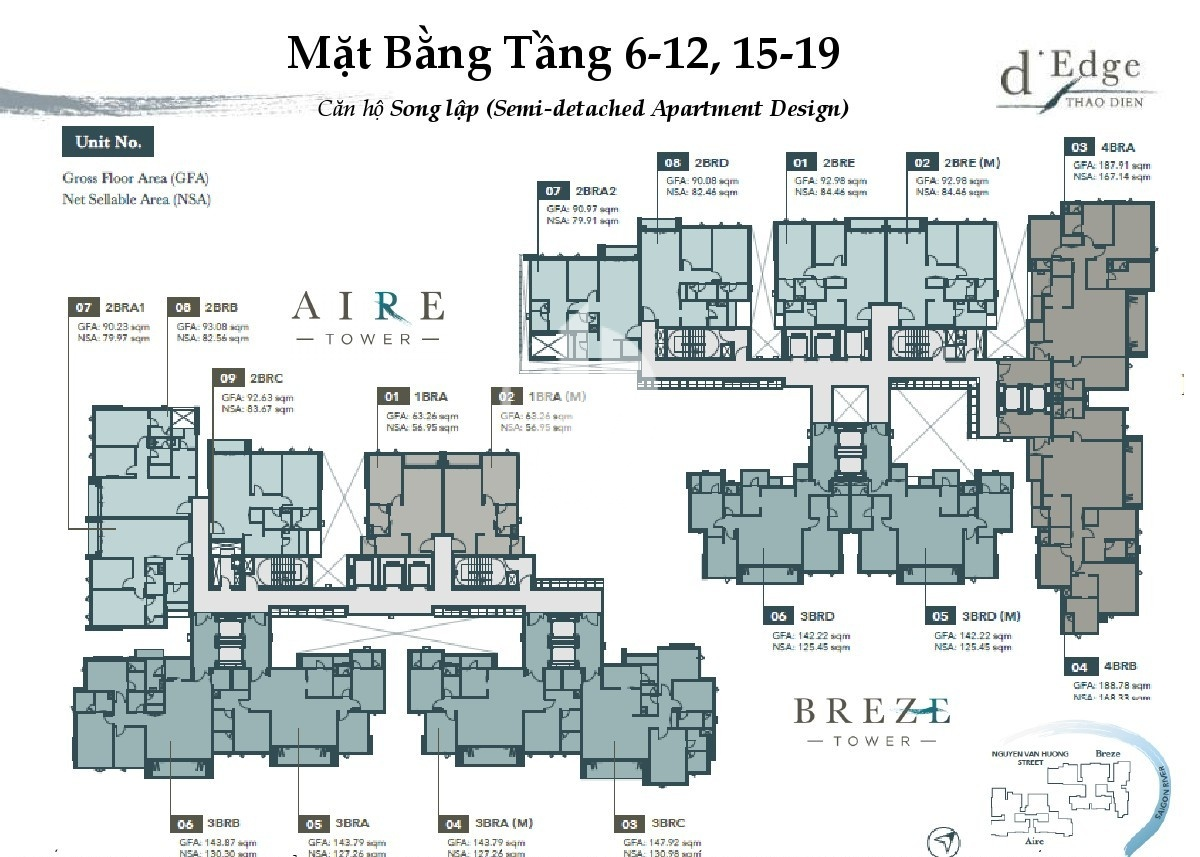 Floor 6th - 12th and 15th - 19th of luxury apartment in D'edge Thao Dien