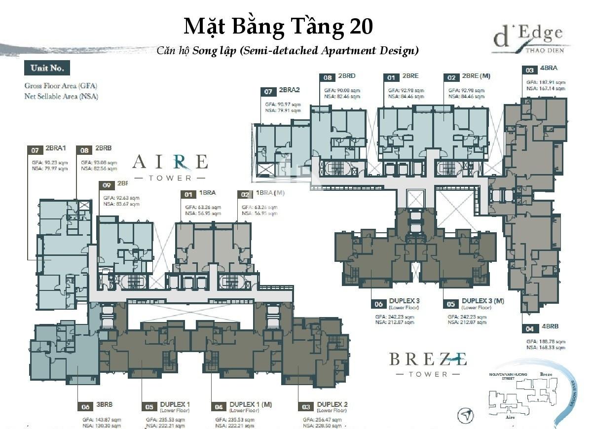 Floor 20th of luxury apartment in D'edge Thao Dien