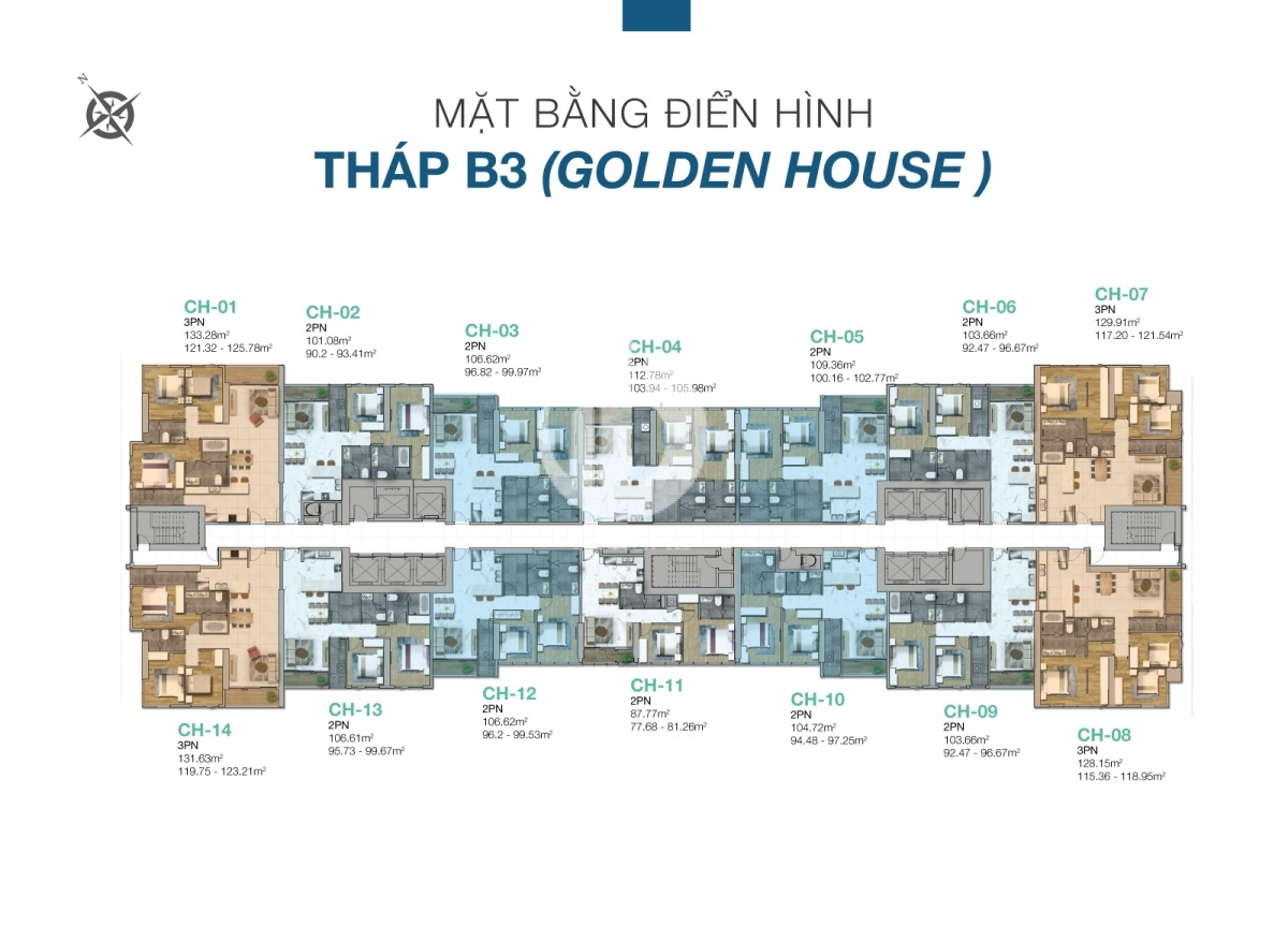 The layout of the Golden House tower