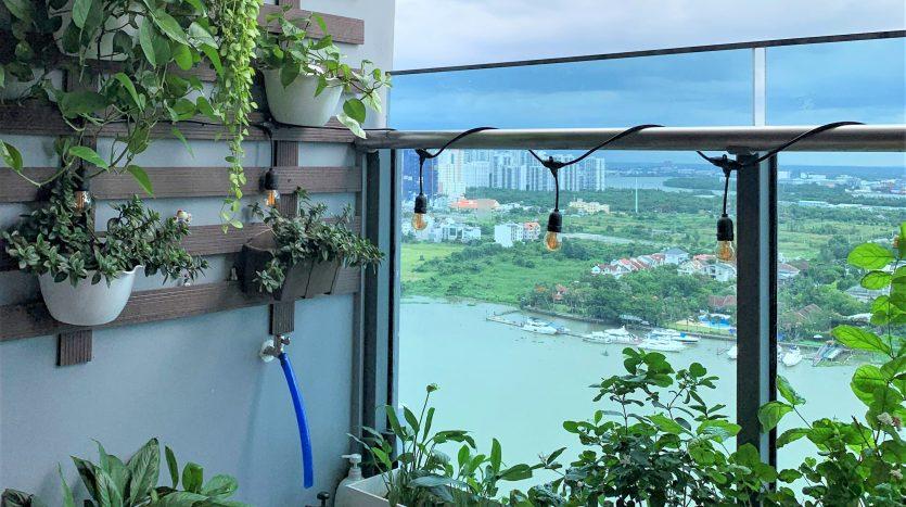 Balcony with green trees