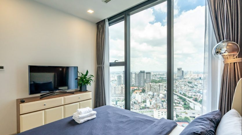The living room and its city view